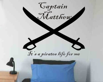 Pirate Wall Decal Personalized Crossed Pirate Swords Boys Bedroom Wall Decor Pirate Theme Baby Boy Nursery Wall Sticker