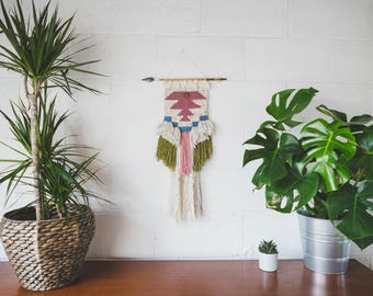 Tribal Blush - Woven wall hanging / Hand-made finer art / tapestry / Weaving