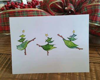 Dancing Christmas Trees 5x7 Holiday Greeting Card