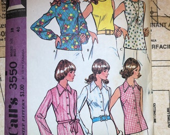 Vintage 70's Blouse Sewing Pattern Size 18 Bust 40 Mccalls 3550 M3550 Long Gathered Sleeves Cuffs Sleeveless Roll Collar Back Zipper Collar