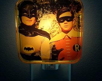 Batman and Robin Night Light, Retro decor, Comic Book, Dc comics, Adam west, Superhero, Batman, Plug in night light, Vintage comics