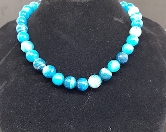 Blue agate faceted necklace