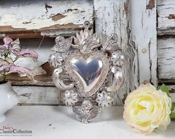 Ex Voto ~ votive heart ~ flaming heart elaborately decorated ~ vintage ~ brocante ~ shabby ~ sacral ~ religious ~ hw3699v6
