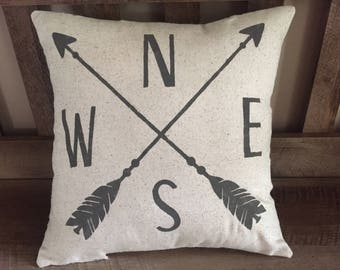 NESW Decorative Pillow with Arrows-Cardinal Directions-Compass-Directions-Rustic Chic Pillow-Modern Farmhouse