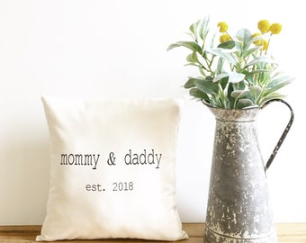 new parent pillow birth announcement pillow cover mother's day gift baby shower gift expecting mom baby pillow cover new parents gift