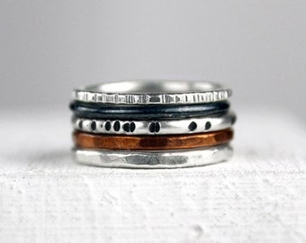Hammered Silver Stacking Rings with Copper Band, Mixed Metal Rings, Varied Texture, Polished and Oxidized, Stackable Ring Set