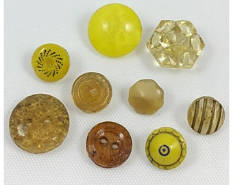 Diminutive Yellow, Amber Glass Vintage Buttons, Item 672