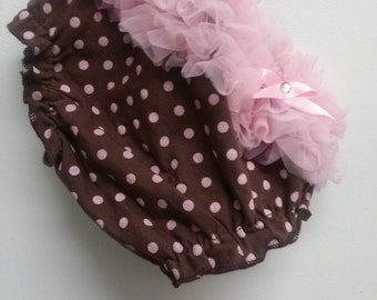 baby ruffle Bloomer pink brown
