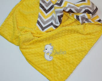 Seahorse, Ocean theme blanket, Yellow and Gray, Baby Blanket, Baby Shower Gift