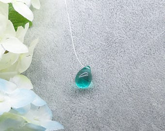 2 beads glass tear drop green 14x10mm - SC0087773 - Mermaid