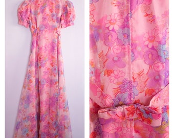 Vintage 1970's Pink Floral High Neck Puff Sleeve Maxi Dress S