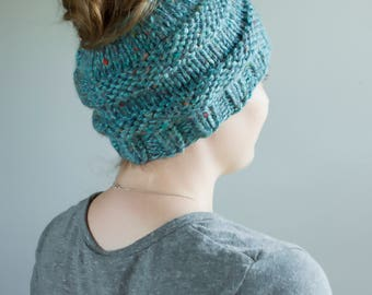 Chunky Messy Bun/Ponytail Hat - LOTS of Color Options! (Wine, Pink Mustard, Teal, Blue, Purple, Black, Gray, Cream, Etc.)