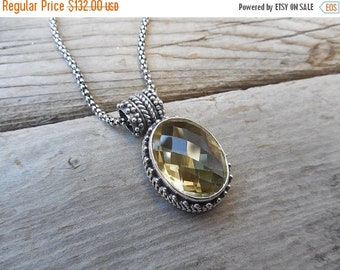 ON SALE Whiskey quartz necklace handmade in sterling silver