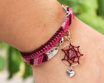 Valentines heart dream catcher bracelet, Raw mookaite native bracelet, ethnic burgundy dreamcatcher bracelet, pastel pink mookite gem stone