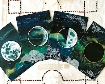 Moon drawing etsy mini moon deck set of four altar moon phase cards malvernweather Images