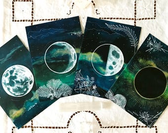 Mini Moon Deck Set of Four Altar Moon Phase Cards