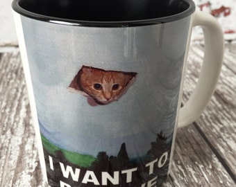 X-Files Aliens Cat I want to Believe Cats Kitty Meme Mug Cup Tea Coffee Black White Unique Item
