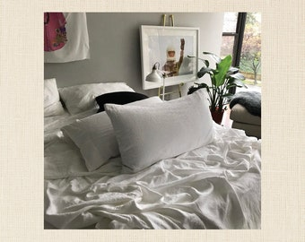 Magnolia Petal Pair of Linen Pillowcases - Minimalist Bedding - Made to Order in the USA