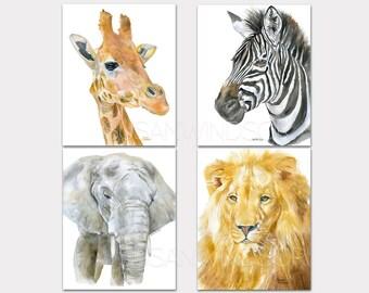 African Safari Watercolor Animal Art Prints Nursery Childrens Room Set of 4 Giraffe Zebra Elephant Lion PORTRAIT-Vertical Orientation