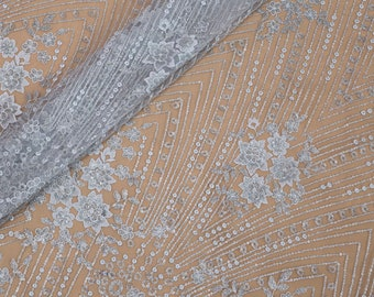 Silver Sequins Lace Fabric, Embroidery Lace, Wedding Lace Fabric, French Lace Fabric, Tulle Lace Fabric, Bridal Lace Fabric