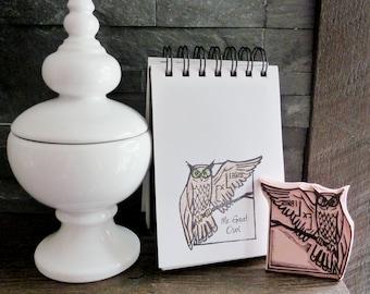 Owl ex libris stamp, custom ex libris bookplate, hand carved owl stamp ex libris, custom stamp