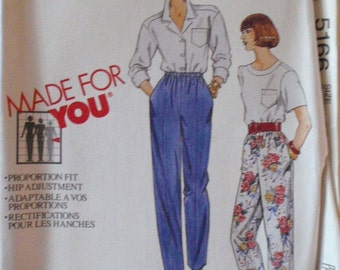 Proportion Fit Pants Sewing Pattern - McCall's 5166 - Size 24, Waist 39, Uncut