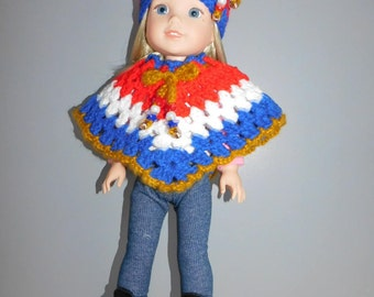 Hand crocheted  Red White and Blue  Poncho and Hat  for Wellie Wishers Dolls. 14 1/4 inch tall doll.  Doll not included. dollclothesandstuff