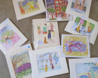 Original Watercolor Prints / Dog Cat Watercolors / Whimsical Animal Watercolor Prints / Portland Artist Liz Allen / 100% sales DONATED