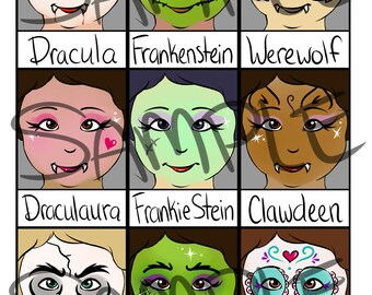 Face Painting Menu- Halloween Full Faces - Digital Download