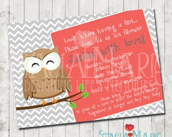 Look Who is having a Baby Owl Baby Shower Invite