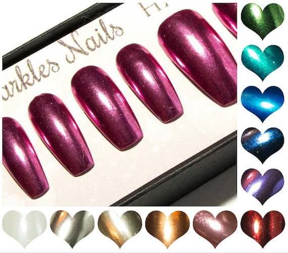 Fake nails chrome long coffin press on nails ballerina acrylic fake nails chrome long coffin press on nails ballerina acrylic nails pink metallic nail mirrored false nails blue purple solutioingenieria Image collections