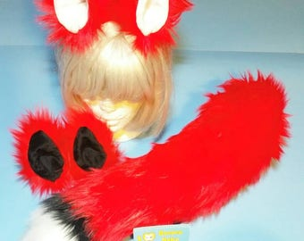 Red Kistune Fox Ears and Tail set