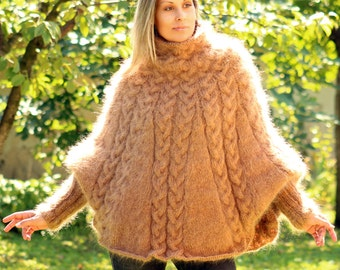 Hand Knitted Mohair Poncho Cable Fuzzy Sweater Turtleneck Beige White - Made to Order - by Extravagantza