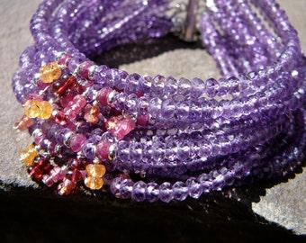 Amethyst Bracelet,Purple Bracelet,Red Spinel,Garnet Bracelet,Garnet Jewelry,Multi Strand Gemstone Jewelry,Gemstone Bracelet,Amethyst Cuff