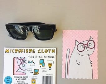 Microfibre Cloth - Cat Wearing Glasses | Glasses Cleaning Cloth | Eye Glasses Cleaning Cloth | Glasses Cleaner