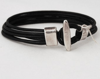 925 sterling Silver Men's Bracelet and black leather
