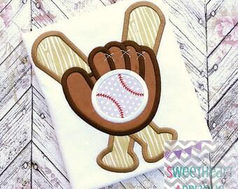 Personalized Baseball Softball Glove Bat Monogram Applique Shirt or Onesie Girl Boy