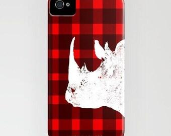 Rhino on red and black Phone Case - Rhino rhinoceros,iPhone 6S, iPhone 6 Plus, Samsung Galaxy S7, Gift Ideas, iPhone 8