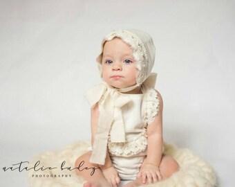 Cotton Romper and Bonnet Set,Sitter,Shorty Romper. Toddler photo Props, Vintage Romper , Baby Photography Prop