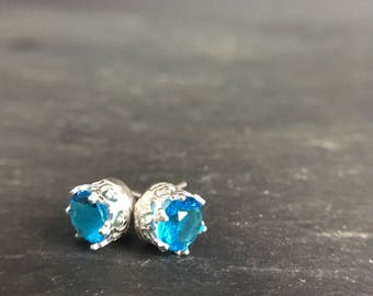 Silver and blue sparkly stud earrings - something blue - handmade earrings - teenager gift