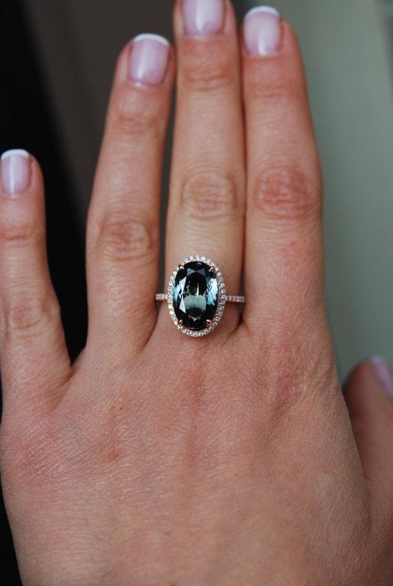 Tanzanite Ring. Rose Gold Ring. Peacock green blue Tanzanite oval cut engagement ring 14k rose gold.