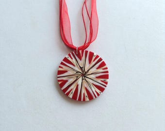 Red Shell Pendant - Red Necklace - Gift for Her - Jewelry Under 20 - Necklace - Handmade - Statement Necklace