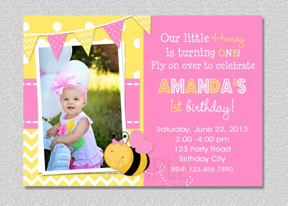Pink bumble bee birthday invitation bumble bee 1st birthday filmwisefo