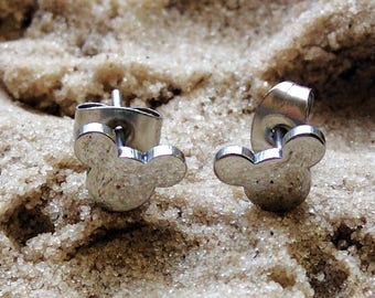 Stud Earrings / Mickey Mouse Silhouette Stud / Stainless Steel Mouse Head Button Earrings / Post Piercings / Black Gold Rose Silver Set