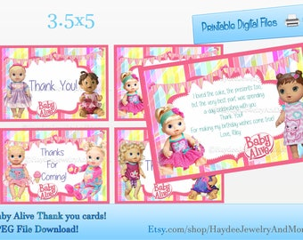 Thank you insert etsy baby alive thank you card birthday card inserts baby alive theme bookmarktalkfo Image collections