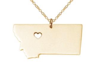 Estado de Montana de oro collar, MT estado collar, Montana collar del encanto, del estado del estado en forma de collar, collar personalizado con un corazón
