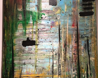 """Original Abstract Acrylic modern contemporary painting 16"""" x 20"""" singed"""