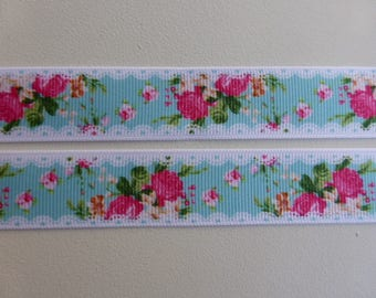 """Lace and Roses Grosgrain Ribbon 22mm / 7/8"""" wide x 1 meters"""