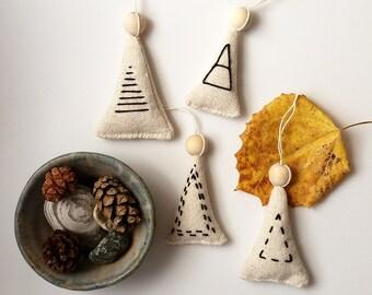 Set of Four Black and White Simple Modern Handmade Christmas Tree Ornament Balsam Fir Sachets