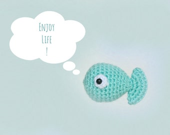 Amigurumi cute and little fish. Crocheted stuffed fish ornament.